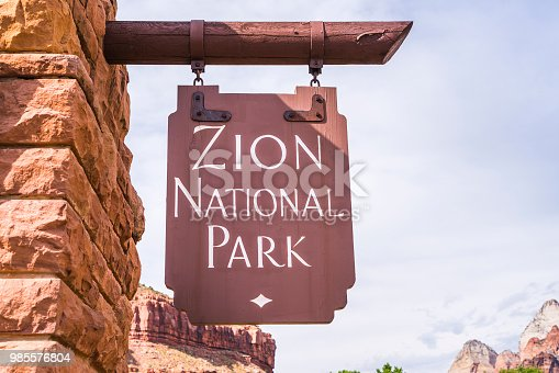 Zion national park ,utah,usa,06-01-17: Zion national park sian at entrance.