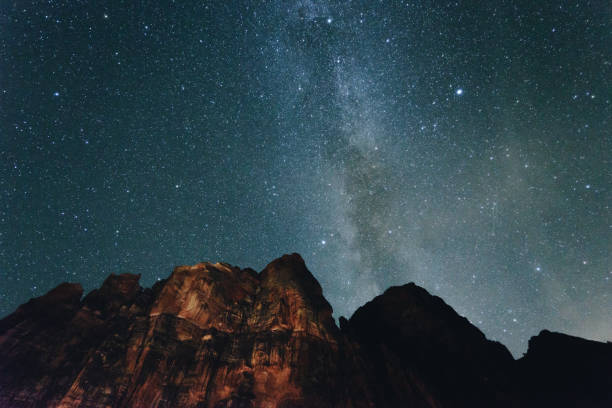 zion national park with milky way - south stock photos and pictures