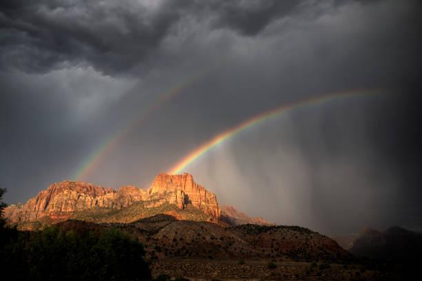 Zion Rainbows stock photo