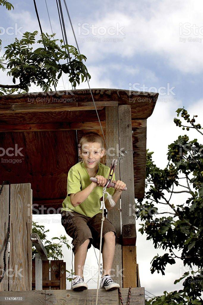 Zip Line Boy royalty-free stock photo