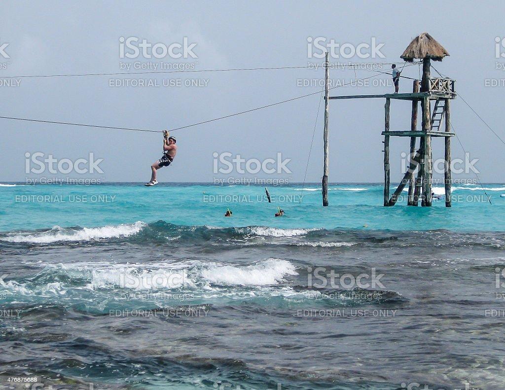 Zip Lining on Isla Mujeres stock photo