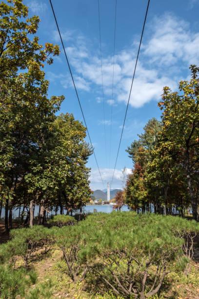 Zip wire to Nami Island in South Korea stock photo