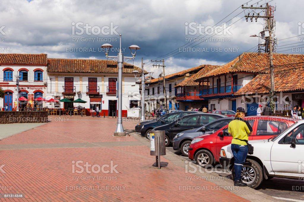 Zipaquirá Colômbia - Plaza de la independencia; Estilo Colonial espanhol de arquitetura. - foto de acervo