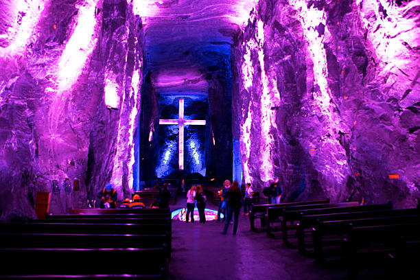 Zipaquira Colombia: Visitors At The New Catedral De Sal, Located In The Old Halite Mines, A Few Hundred Feet Below The Surface On The Andes Mountains stock photo