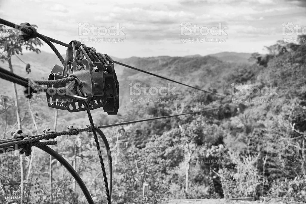 Zipline over the jungle canopy stock photo