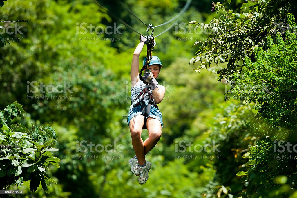 Ziplining in Costa Rica stock photo