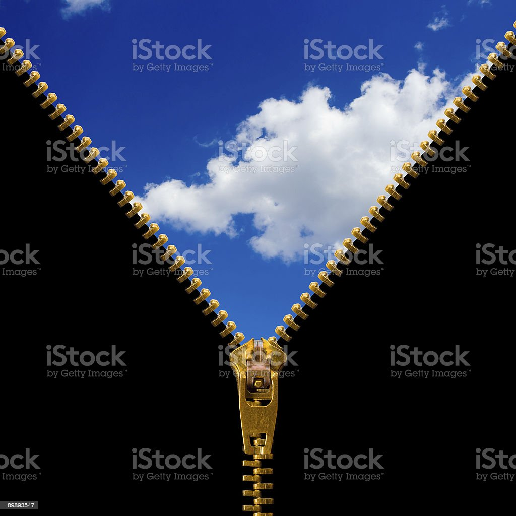 Zipper and cloudy sky royalty-free stock photo