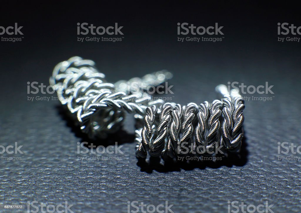 Zipper clapton coil build for vaping rebuildable atomizer stock photo