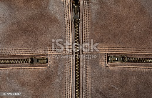 672414164istockphoto Zipper Close Up Of Brown Leather Jacket 1072866692