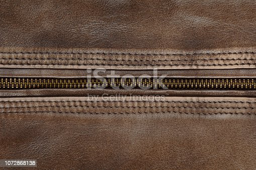 672414164istockphoto Zipper Close Up Of Brown Leather Jacket 1072868138