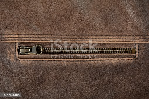 672414164istockphoto Zipper Close Up Of Brown Leather Jacket 1072870826