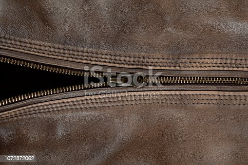 672414164istockphoto Zipper Close Up Of Brown Leather Jacket 1072872062
