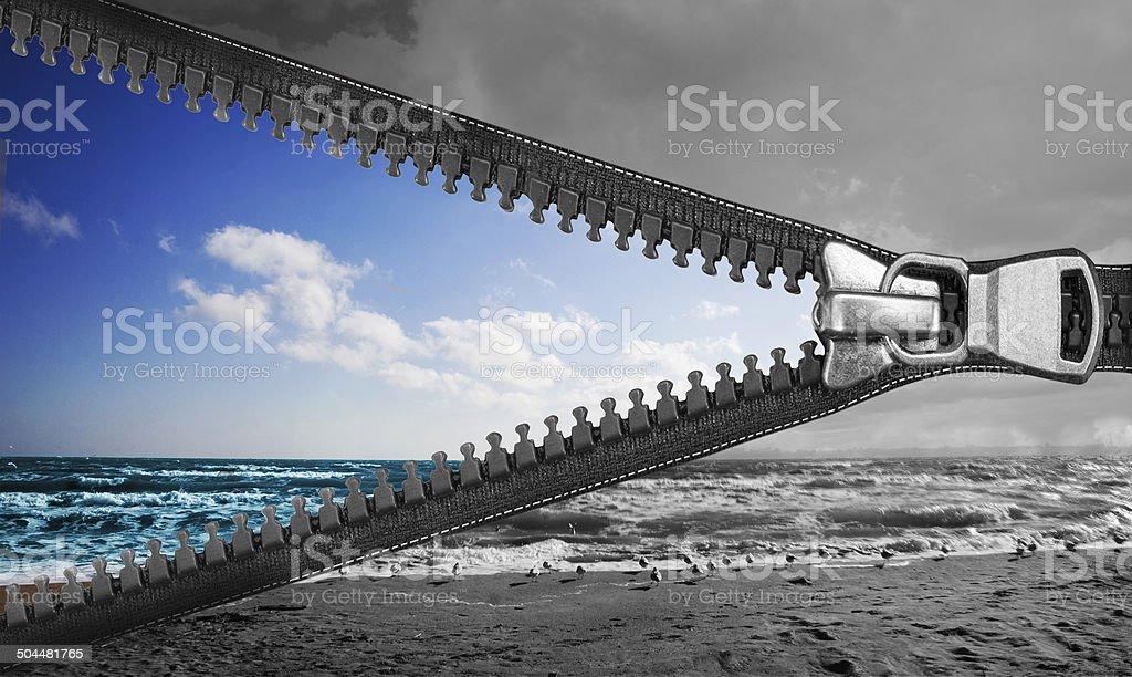 zipper for the sky stock photo