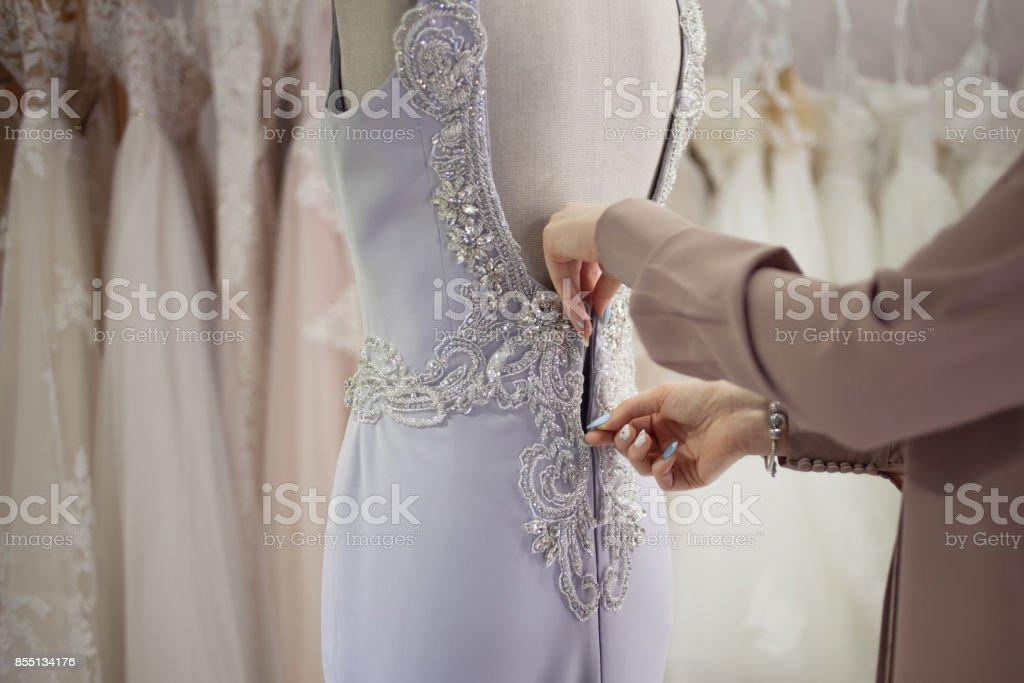 Cremallera De Lujo Vestido De Noche Primer Plano Boutique De