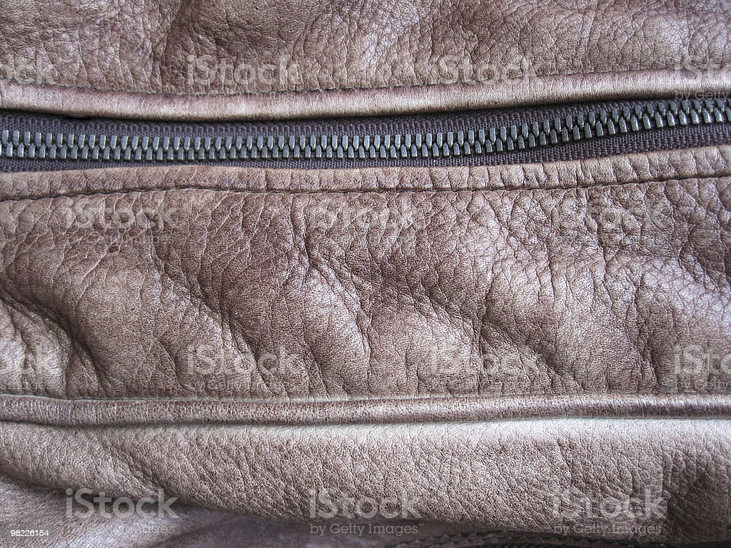 Zipper of a leather bag royalty-free stock photo