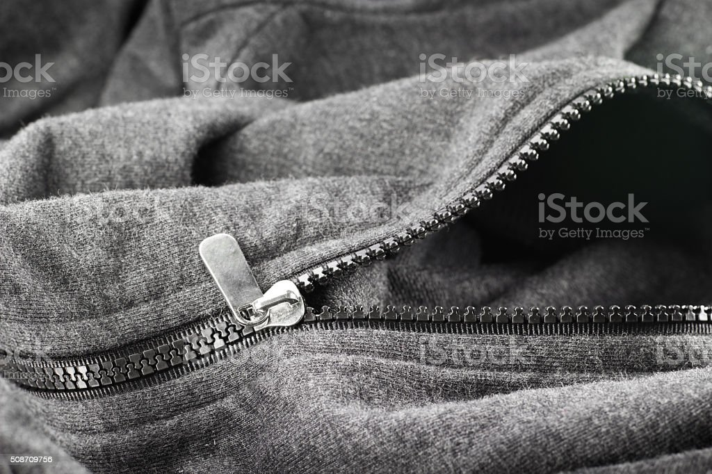 zipper of jacket stock photo