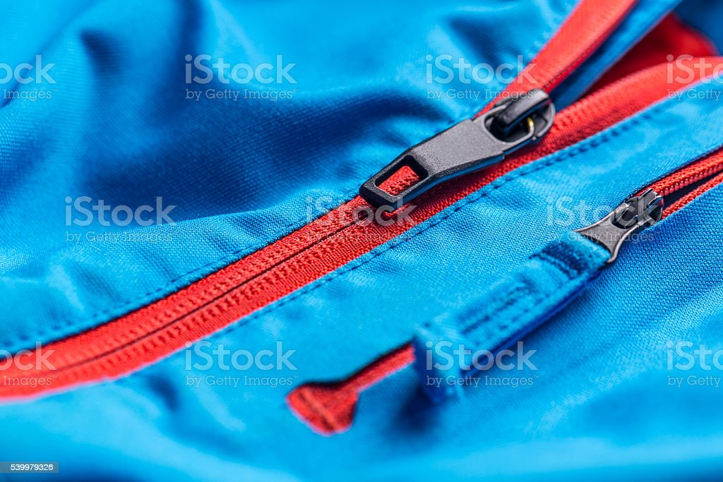 Zipper on coat stock photo