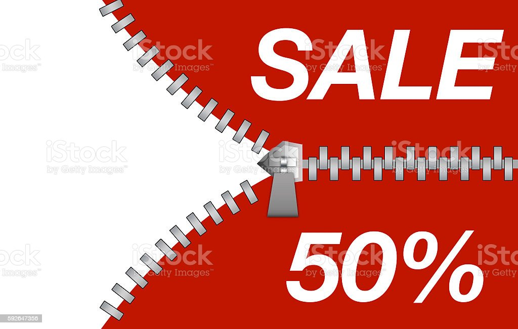Zipper revealing a discount for sale purposes stock photo