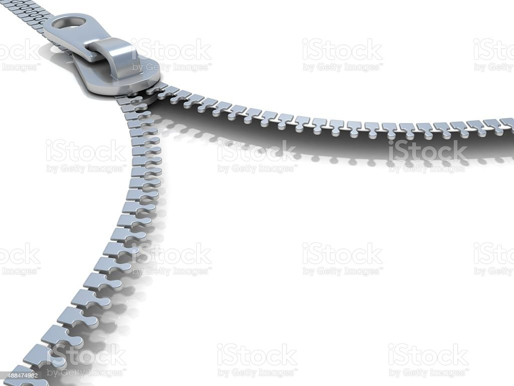 Zipper. Side view. 3D render stock photo