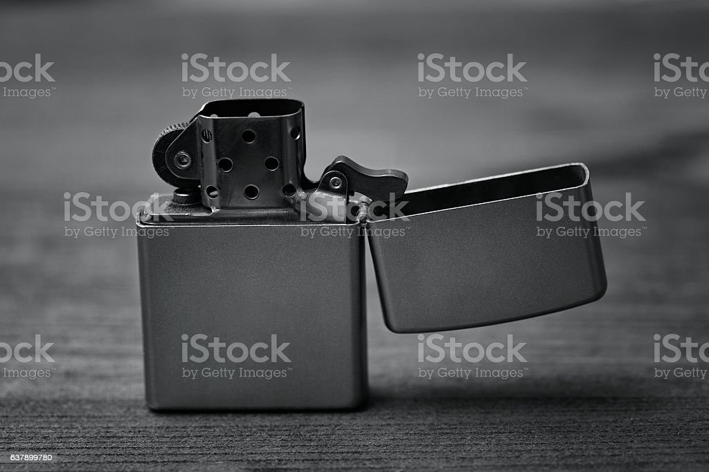 Zippo Lighter silver stock photo