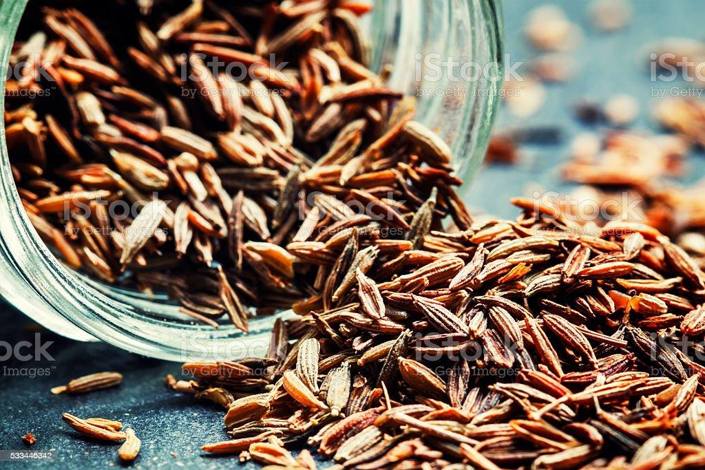 Zira or cumin, oriental spices stock photo
