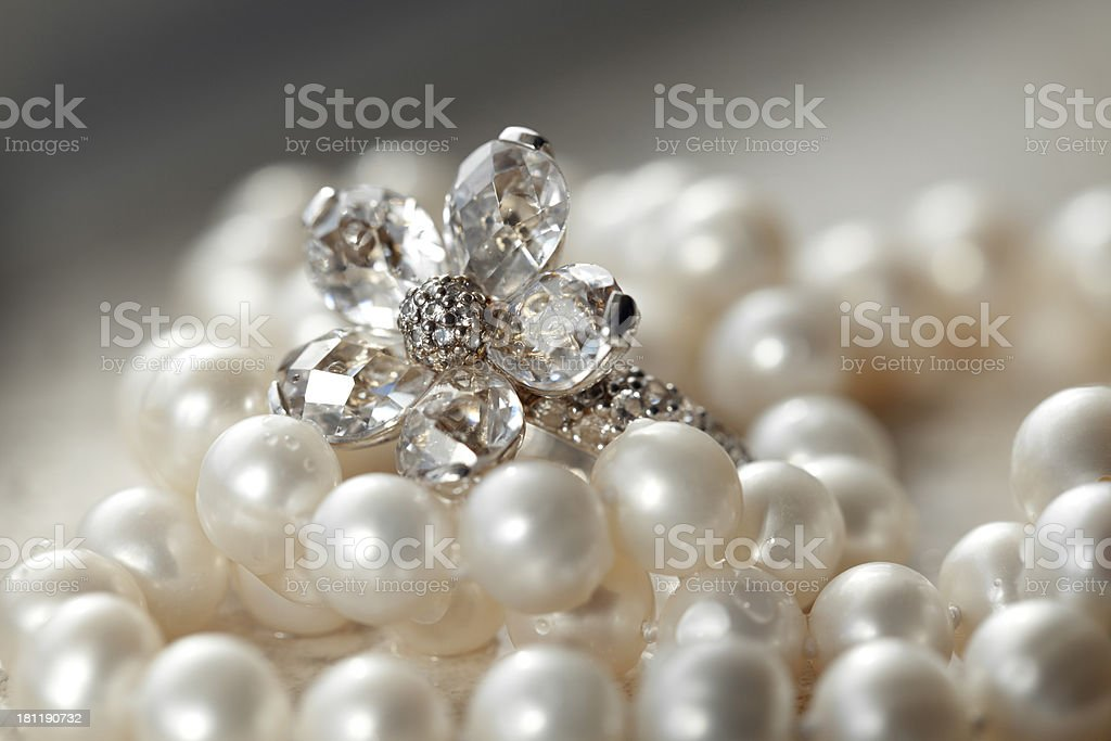 Zircon ring and pearls royalty-free stock photo