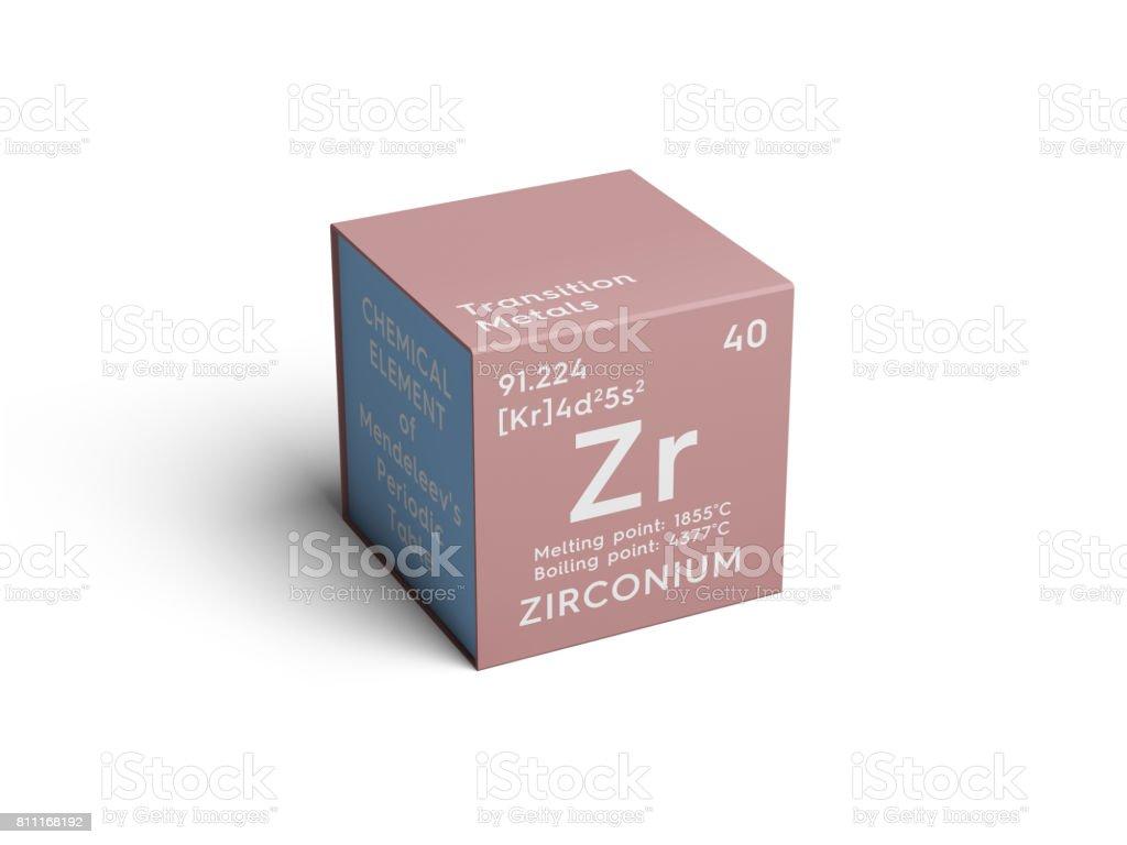 Zirconium. Transition metals. Chemical Element of Mendeleev's Periodic Table. stock photo