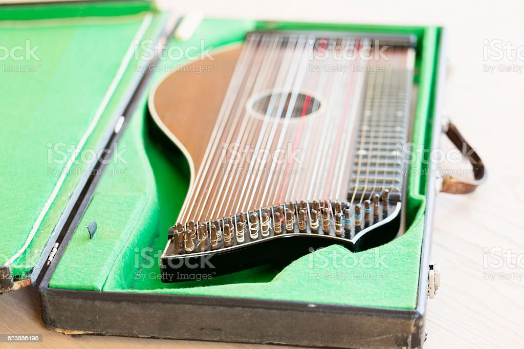 Zither-traditional musical instrument in case stock photo