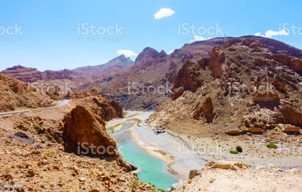 Ziz River in the Atlas Mountains of Morocco stock photo