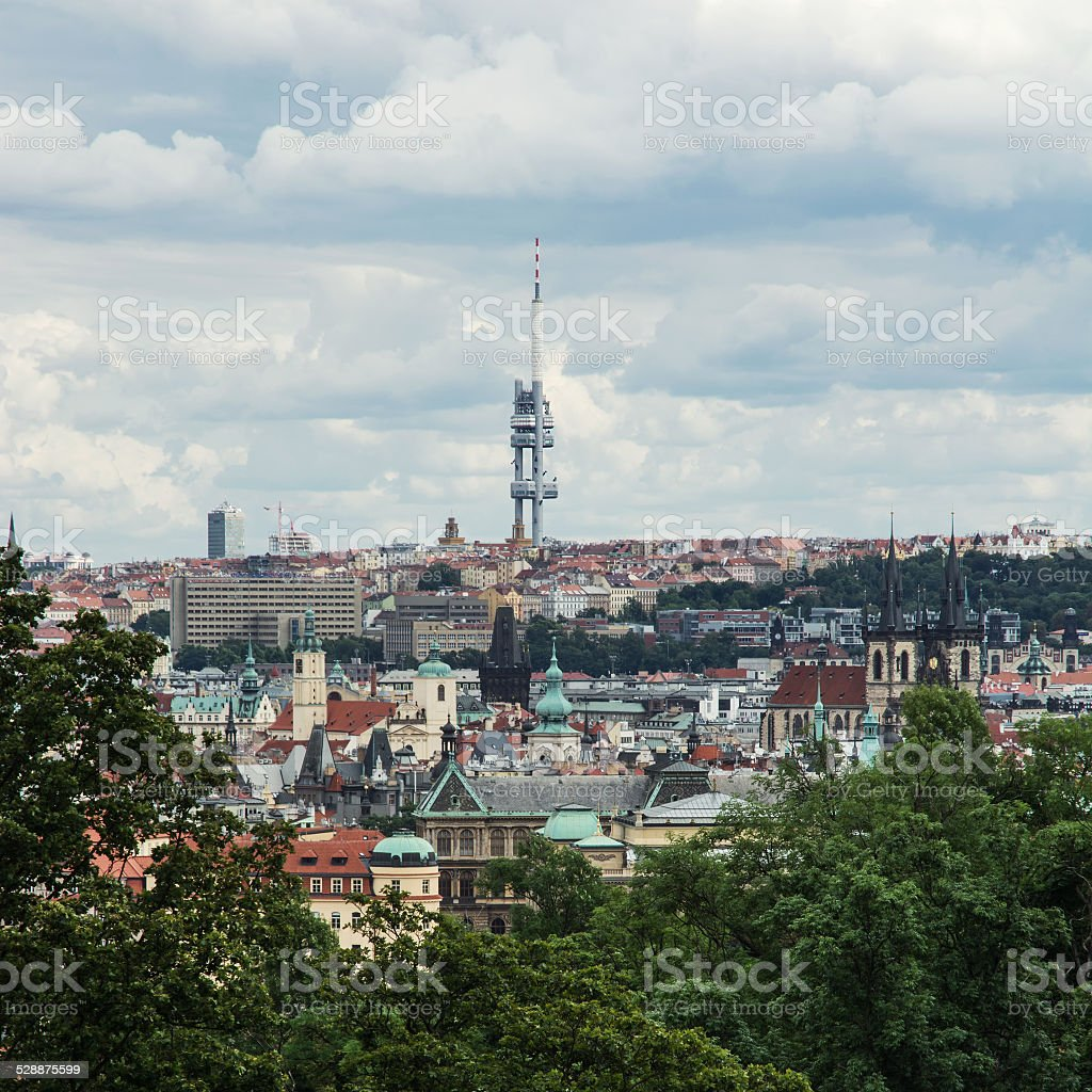 Zizkov television tower in Prague city stock photo