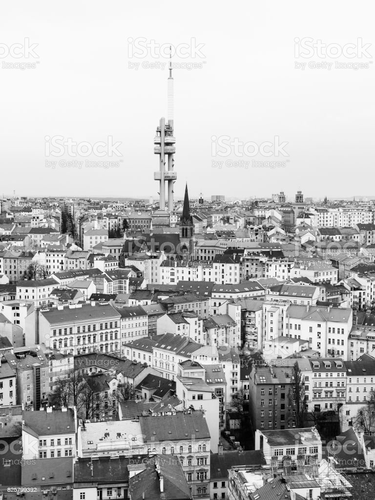 Zizkov town part and television tower, Prague, Czech republic. Black and white image stock photo