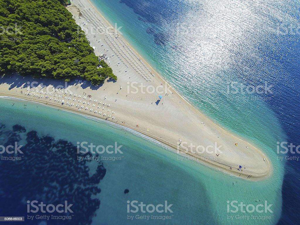 Zlatni rat beach, Bol, Brac island, Dalmatia, Croatia stock photo