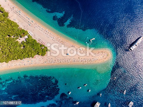 Aerial view of Zlatni Rat Beach in Brac Island, Dalmatian Region
