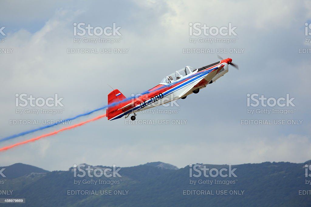 Zlin aircraft in action stock photo