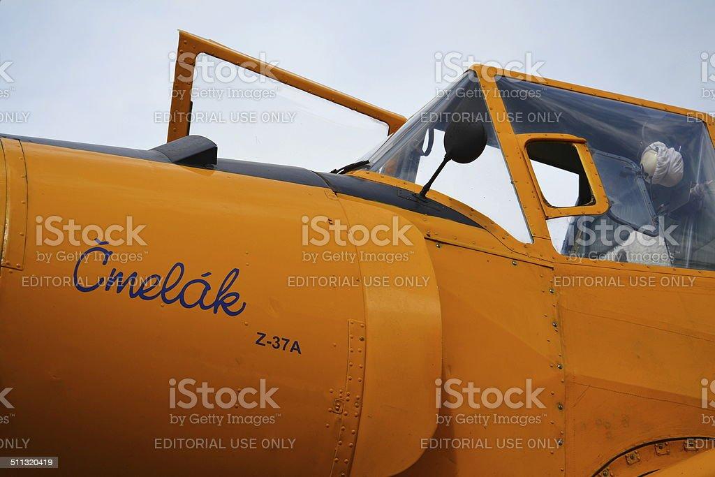 Zlin Z-37 Cmelak airplane stock photo
