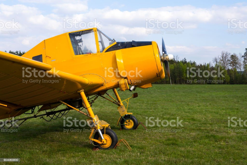Zlin Z-37 Cmelak Czech agricultural airplane used as crop duster stock photo