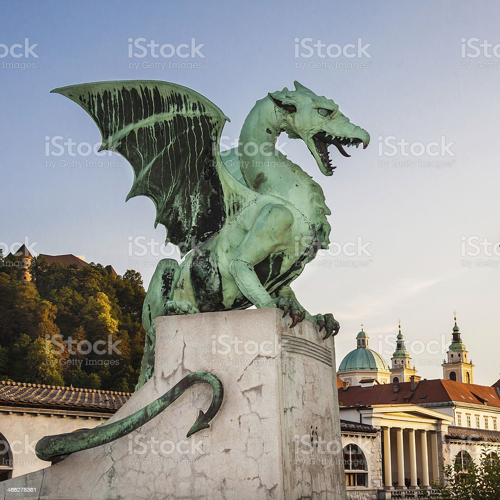 Zmajski most (Dragon bridge), Ljubljana (Slowenien, Europa Lizenzfreies stock-foto