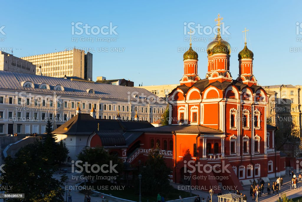 Znamensky Cathedral on Varvarka Street in the evening illumination at sunset. stock photo