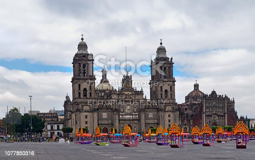 Mexico City, Mexico - October 28, 2016: Zocalo decoration for the Day of Dead (Dia de los Muertos) - Mexico City, Mexico