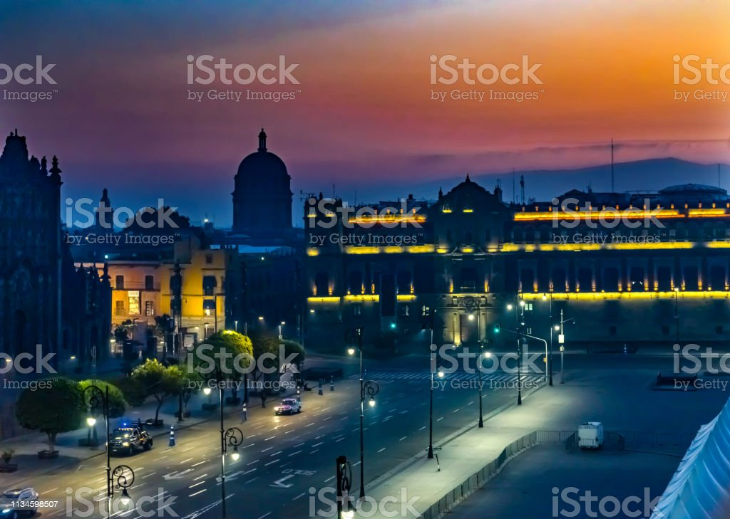 Zocalo Presidential National Palace Monument Sunrise Mexico City...