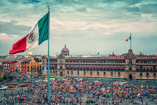 Zocalo Square in Mexico City. Regional2014 stock photo