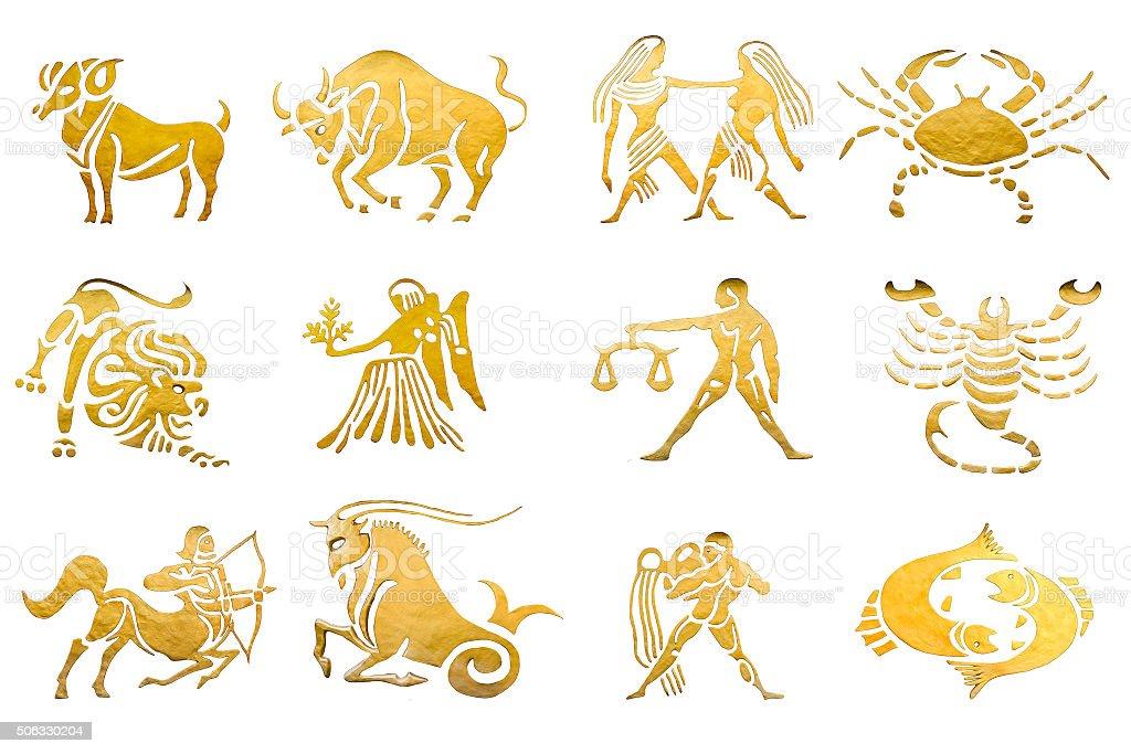 Знаки зодиака звезды знаки и Гороскопы изолированного на белом стоковое фото