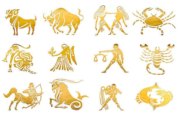 Sternzeichen und Sterne Beschilderung Horoskope isoliert auf Weiß – Foto