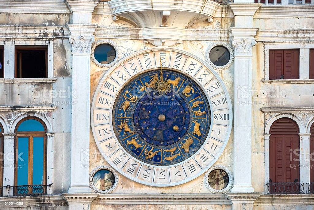 Zodiac astronomical Clock Tower stock photo