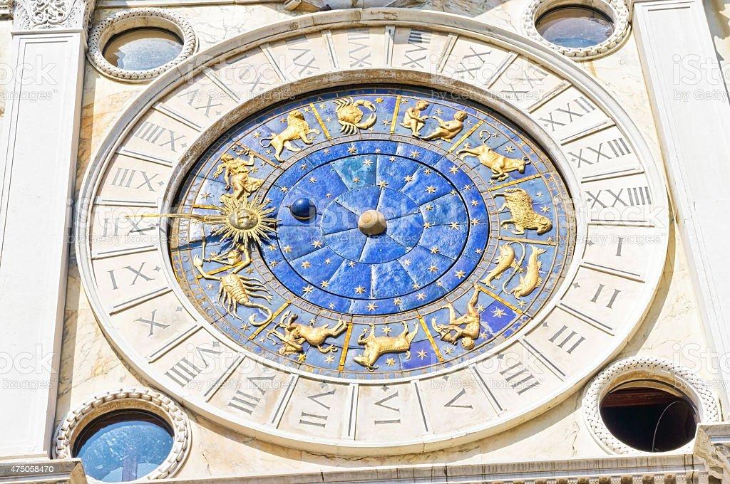 Zodiac Clock Venice Italy stock photo