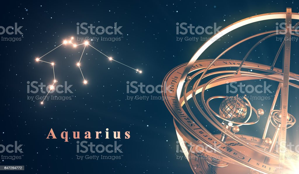 Zodiac Constellation Aquarius And Armillary Sphere Over Blue Background stock photo