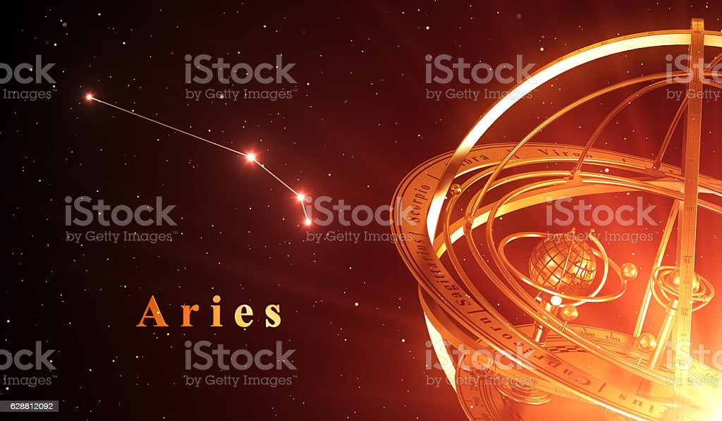 Zodiac Constellation Aries And Armillary Sphere Over Red Background stock photo