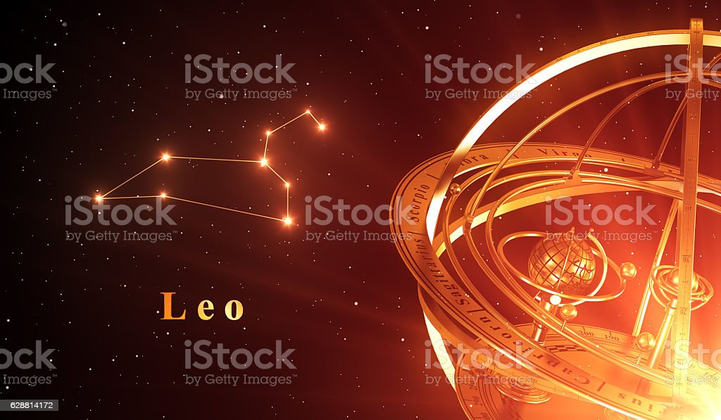 Zodiac Constellation Leo And Armillary Sphere Over Red Background stock photo
