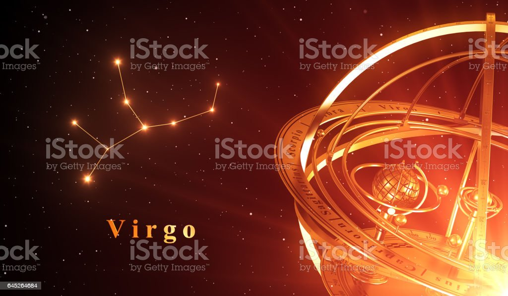 Zodiac Constellation Virgo And Armillary Sphere Over Red Background stock photo