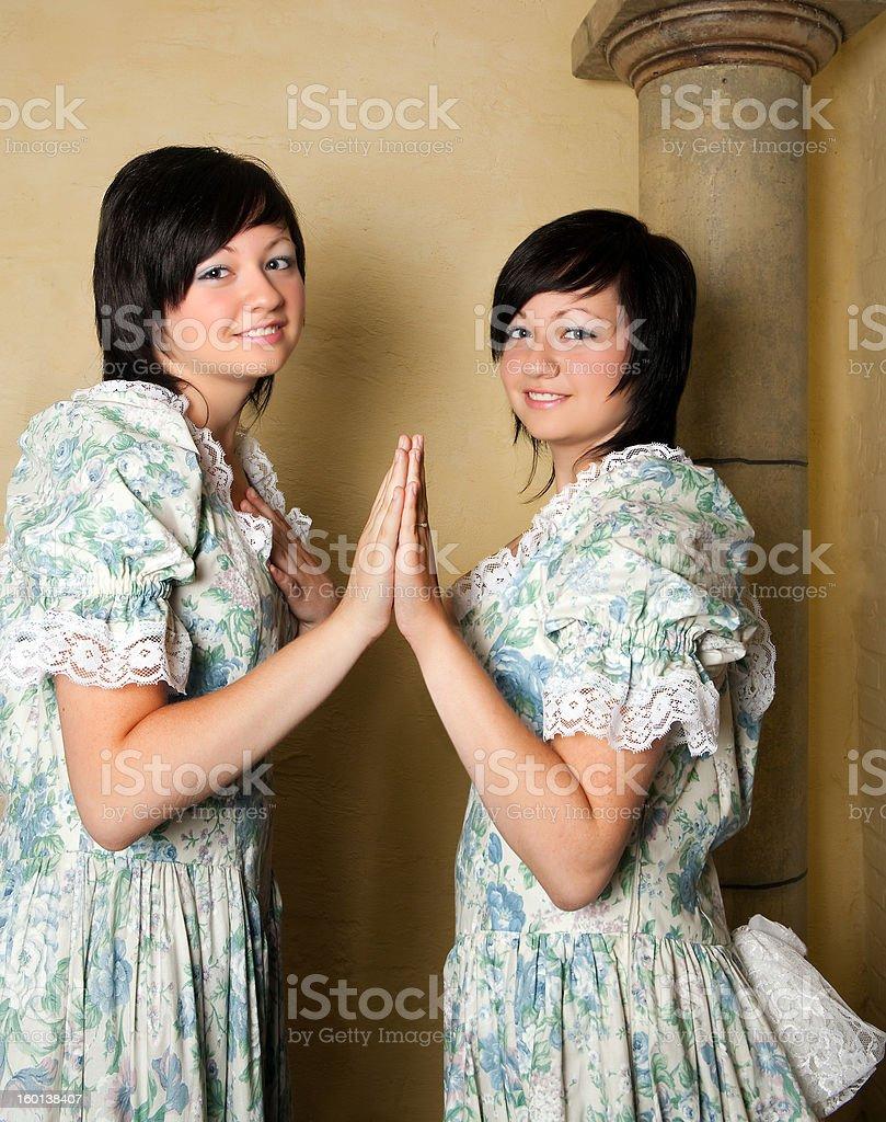 Zodiac Gemini girls royalty-free stock photo